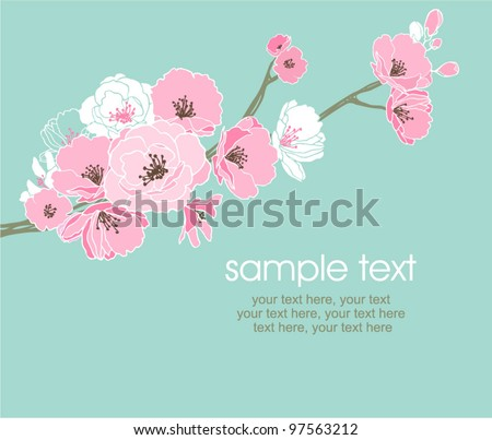 vector card with stylized cherry blossom and text
