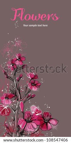 Vector card with stylized flowers. Cherry tree