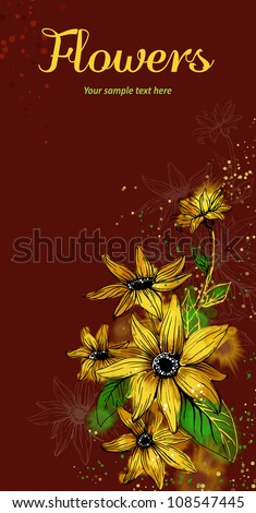 Vector card with stylized flowers. Sunflower