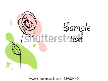 Vector card with stylized ink rose and paint stains