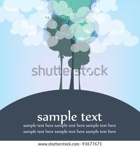 vector card with trees and clouds