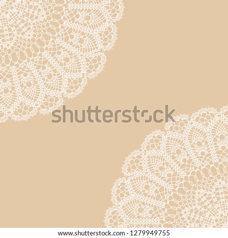 vector card with two quadrant lace ornament on beige background