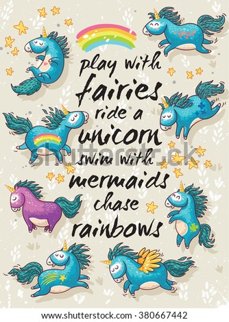 vector card with unicorns