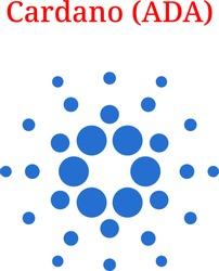 Vector Cardano (ADA) digital cryptocurrency logo. Cardano (ADA) icon. Vector illustration isolated on white background.