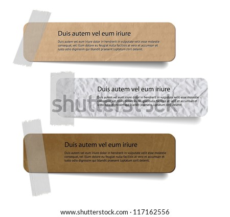 Vector cardboard and crumpled paper labels attached with a sticky tape