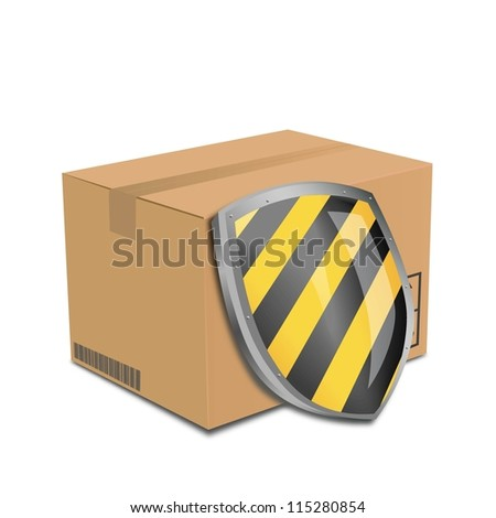 vector cardboard box and protection shield. security concept.