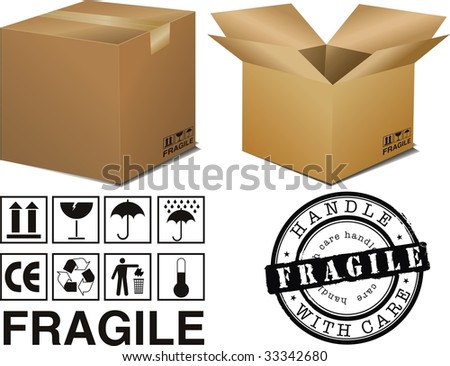 vector cardboard boxes with signs