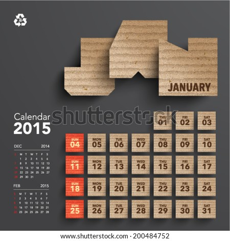 Vector 2015 Cardboard Calendar Design January
