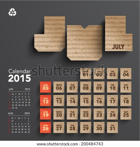 Vector 2015 Cardboard Calendar Design July