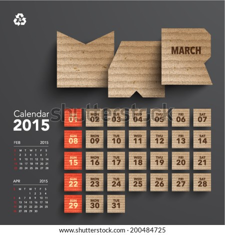 Vector 2015 Cardboard Calendar Design March