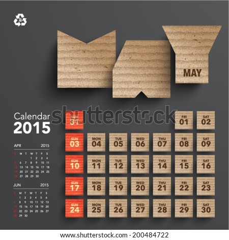 Vector 2015 Cardboard Calendar Design May