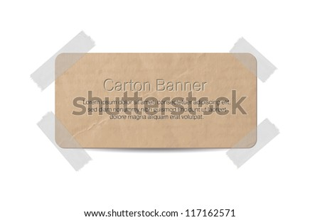 Vector cardboard label/ banner attached with a sticky tape