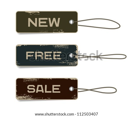Vector cardboard retro vintage badges set with straps and worn out paint, military style