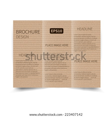 Vector cardboard tri fold brochure design template with for Cardboard brochure holder template