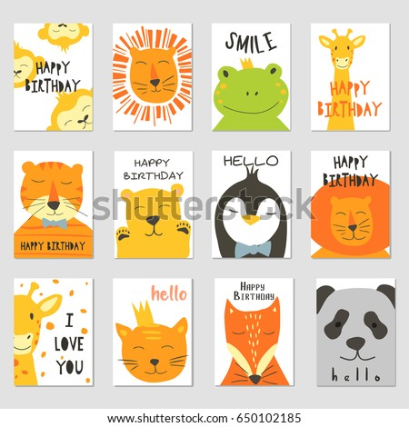 vector cards with cute