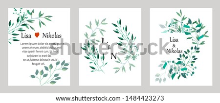 Vector cards with leaves. Botanic Design for banner, wedding, poster, invitation, cover, placard, brochure, header. #1484423273