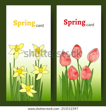 Vector cards with spring flowers (tulips and daffodils). Wedding invitation. Easter card. Vector floral illustration. Templates with spring flowers. Flowers with watercolor texture and black contour.