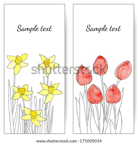 Vector cards with spring flowers (tulips and daffodils). Wedding invitation. Vector floral illustration.
