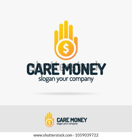 Vector care money on hand logo set colorfull style for change, transfer, secure, pay, care, digital money, finance company. Vector Illustration 10 eps