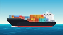 Vector Cargo ship with containers in the ocean. Delivery, transportation, shipping freight transportation.