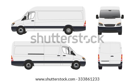 Vector cargo van, city commercial mini bus