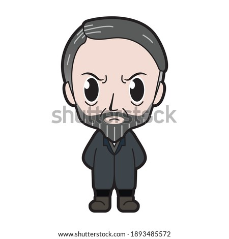 Vector Caricature Illustration of The Classical Sociology Figure; Max Weber, Standing on a Blank Background - JAKARTA, INDONESIA - August 30, 2020 Stock photo ©