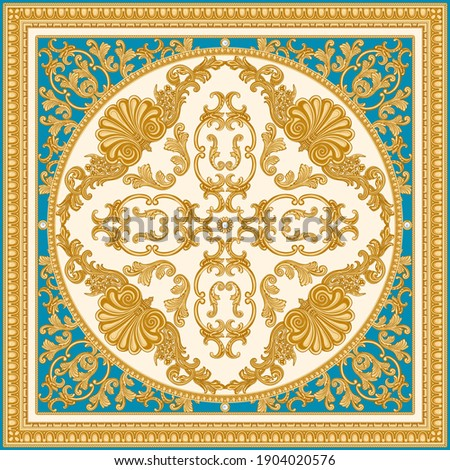Vector carpet print on a beige and turquoise background. Fashionable pattern from gold carved frames, Baroque scrolls, Rococo shells. Scarf, shawl, neckerchief, rug. 3 pattern brushes in the  palette Photo stock ©