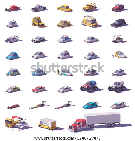 Vector cars and trucks collection. Includes cars, sports cars, SUV, trucks, monster truck, electric vehicle and police transport