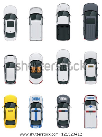 vector cars icon set from