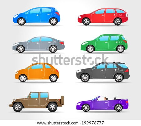 vector cars icons   side view