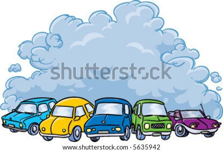 vector cars producing a cloud of air pollution: vector illustration