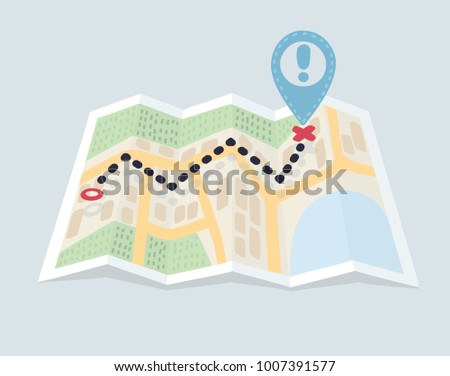 Vector carton illustration of Folded maps navigation with point markers and pin. Route, destination and lockation. Object on isolated white background.
