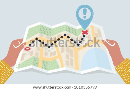 Vector carton illustration of hands holding abstract city map with pin. Destination, location, route, start point. Gps navigation concept. Location maps, travel destination, route