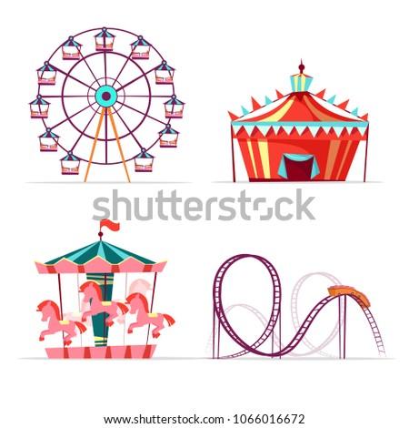 Vector cartoon amusement park attractions set. Ferris wheel, merry go round horse carousel, roller coaster and tent. Circus funfair festival kids entertainment design elements. Isolated illustration