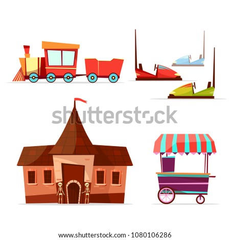 Vector cartoon amusement theme park attractions set. Steam train horror house with skeletons, bumper car ice cream cart. Circus funfair festival kid entertainment design element. Isolated illustration