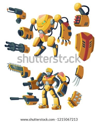 Vector cartoon androids, human soldiers in robotic combat exoskeletons with guns isolated on background. Battle robots with various weapons, cyborg humanoids. Characters for computer games