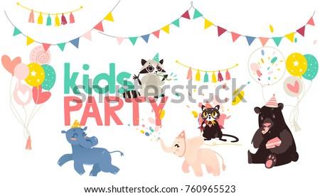 vector cartoon animals at party