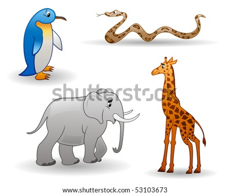 Vector cartoon animals isolated on a white background