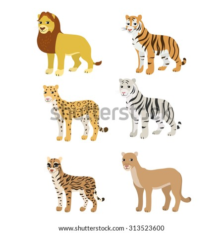 vector cartoon animals  lion
