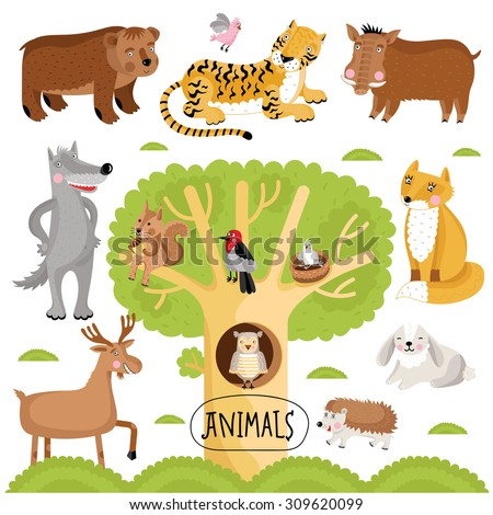 vector cartoon animals set