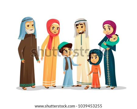 Vector cartoon arab family characters set. Happy saudi, emirates muslim senior man, woman, parents, father and mother holding infant baby, teen boy, girl children. People in national clothing, hijab