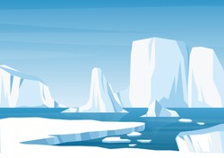 Vector cartoon Arctic ice landscape with iceberg, sea, hills and snow mountains. Greenland, Arctic or Antarctic illustration in flat style. Global warming concept. Glacier arctic landscape. Game style