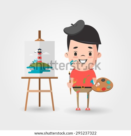 vector cartoon artist and the