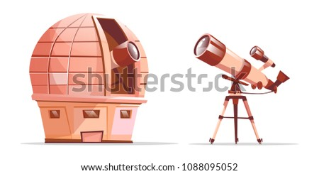 Vector cartoon astronomy discovery equipment set. Observatory dome with radio telescope and telescope on tripod. Illustration with optical cosmos objects - planets, stars galaxy observation tools.