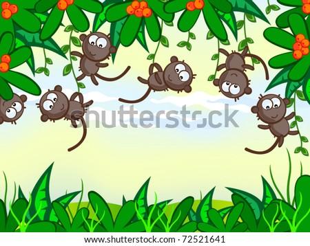 Cartoon Jungle Grass Vector cartoon background.