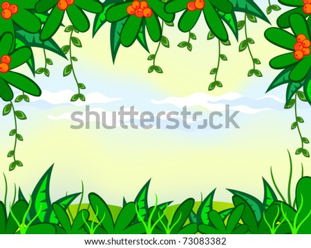 Vector cartoon background. Jungle. The frame of the tropical plant ...