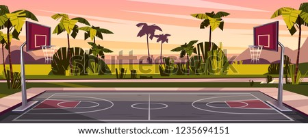 Vector cartoon background of basketball court on street. Outdoor sport arena with baskets for game. Playground for competition, championship. Backdrop with tropic palms, sunset sky and green field.