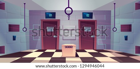 Vector cartoon background of quest room with closed doors, riddles and puzzles for people. Stand with conundrum, keys and elements for modern game, escape concept. Lasers from walls, tile floor.