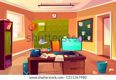Vector cartoon background of workplace of private detective or policeman. Desk with computer, criminal cases and chair for clients. Interior of police department, cabinet for investigation.