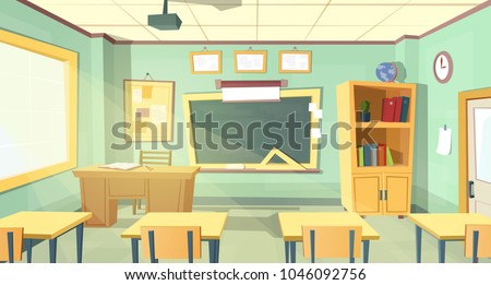 Vector cartoon background with empty school classroom, interior inside. Education concept illustration, college or university training room with furniture, chalkboard, table, projector, desks, chairs